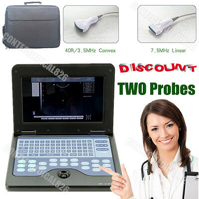 Digital Ultrasound Scanner Laptop Machine with 3.5M Convex+7.5M Linear 2 Probes