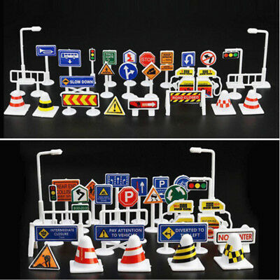 28pcs/Set English Road Sign Traffic Signs Toy Kids Children Play Pretend Toys