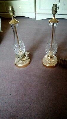 2 cut glass and brass coloured lamps. really heavy.