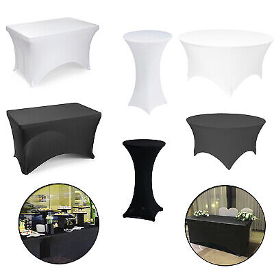 Black White Lycra Spandex Fitted Stretch Tablecloth Cover Wedding Banquet Party