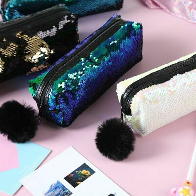 Pencil Case Reversible Sequin Hairball Makeup Bag For Girls Student Stationery