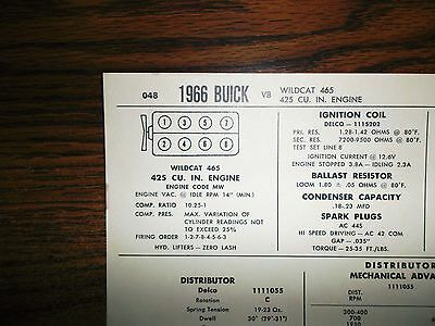 1966 Buick Series Models Wildcat 425 CI V8 SUN Tune Up Chart Excellent Shape!
