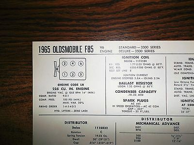 1965 Oldsmobile F85 Series 225 CI V6 SUN Tune Up Chart Excellent Condition!