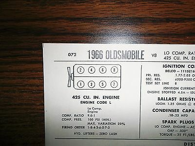 1966 Oldsmobile EIGHT Series Models Low Compression 425 CI V8 Tune Up Chart