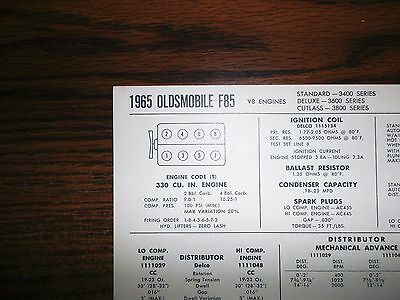 1965 Oldsmobile F85 Series 330 CI V8 SUN Tune Up Chart Excellent Condition!