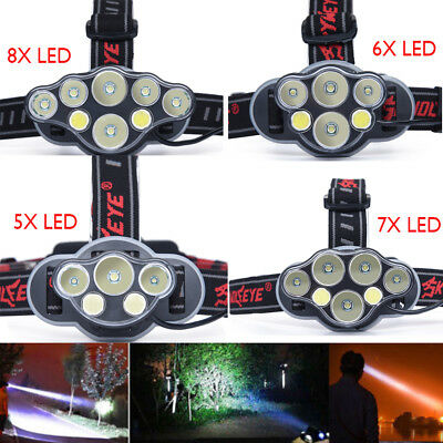 50000LM 5/6/7/8X LED USB Rechargeable Headlamp Headlight Flashlight White Lights
