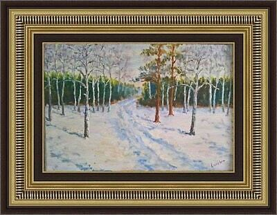 Antique old Russian original B. Lokshin signed oil realism painting landscape