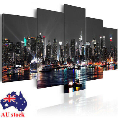 Framed/Unframed 5PCS New York Night Canvas Print Pictures Wall Xmas Home Decor