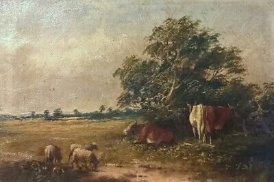 Original Antique Oil Painting Sheep and Cattle Landscape Signed Verso in Pencil