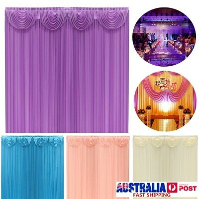 3*3M Wedding Party Stage Backdrop Drape Sheer Curtain Photo Background SWAG SET