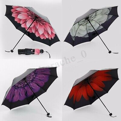 Anti-UV Women Windproof Waterproof Clear Rain Sun Floral Three Folding Umbrella