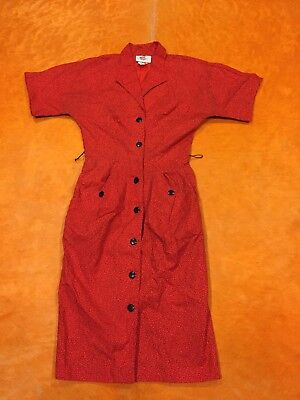 Womens Edgy Vintage 80s Red Black Abstract New Wave Button Down Shirt DressXS-S