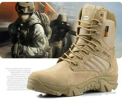 Men's Military Desert Tactical Army Boots Combat Zipper Lace Up Shoes Climbing