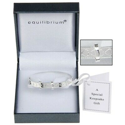 Equilibrium Silver Plated Heart Christening Bracelet Bangle Baby