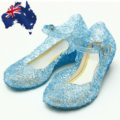 AU Girl's Princess Fancy Dress Shoes Cosplay Frozen Ankle Strap Jelly Sandals