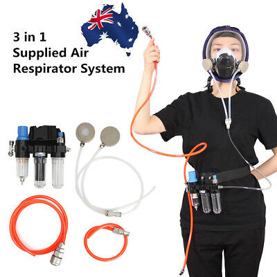 3 In 1 Function Supplied Air Fed System For Spraying Respirator Gas Mask AU