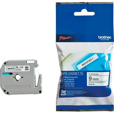 Brother P-Touch M-K221BZ 9mmx8m Black On White Plastic Labelling Tape MK221BZ