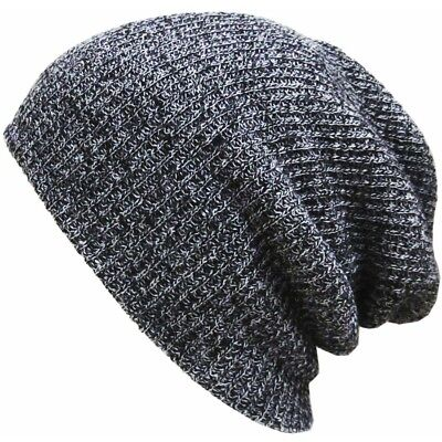 Womens Mens Winter Knitted Beanie Baggy Caps Slouchy Oversized Stripe Warm Hats