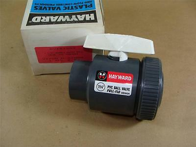 "New Hayward Bv10125T 1-1/4"" Pvc Single Entry Ball Valve Viton Seals Threaded End"
