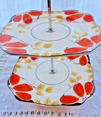 Vintage Hand Painted Two Tier Cake Stand
