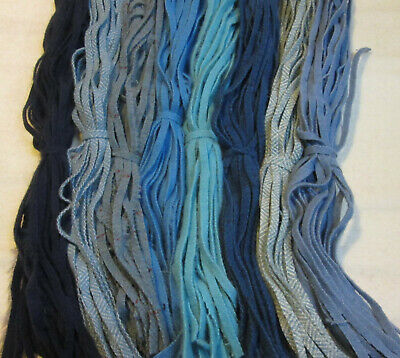 #6 Eight Great Blues   200 Wool Strips for Primitive Rug Hooking