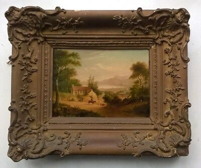 19th Century Original Oil Painting Figures on Horseback Village & Lake Landscape