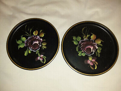 pair of Vintage Toleware Metal Trays round Hand Painted with flowers