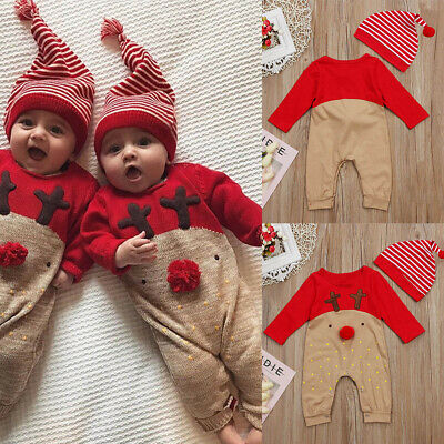 Newborn Baby Boy Girl Xmas Reindeer Romper Jumpsuit Bodysuit Outfits Clothes Set