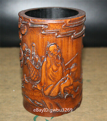 Asian Chinese Bamboo Pen holder  Hand Carved Old man crane pine tree Brush pots