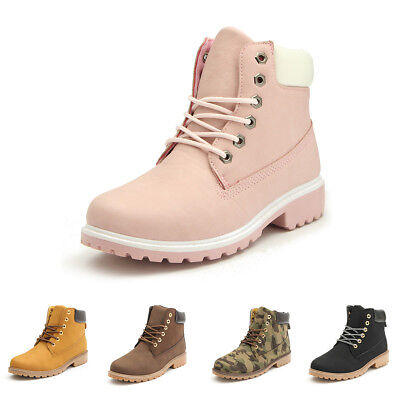 Womens Winter Warm Snow Ankle Boots Leather High Top Tooling Shoes Casual Suede