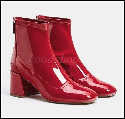Womens Patent Leather Square Toe Shiny Sexy Zip Ankle Boots Block Heels Shoes