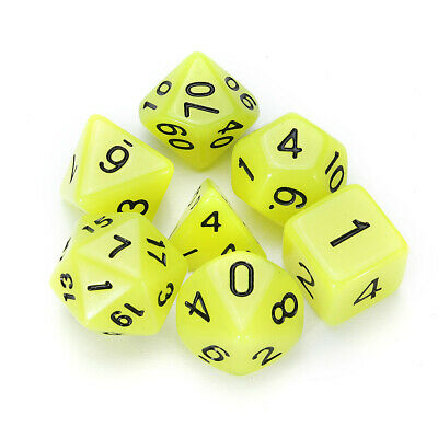 7 Pcs Luminous Polyhedral Dices Multi-sided Dice Set Polyhedral Dices With Dice