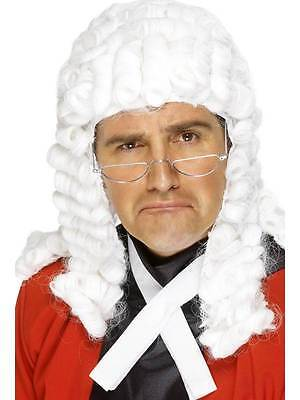 Long White Wavy Wig, Judges Wig. Courtroom Fancy Dress Accessory