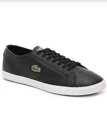 f0a5a2f8db7f00 NEW LACOSTE MARCEL Men s Black Leather Lace-up Sneakers Size 12 ...