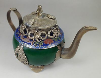 Collection decoration Chinese Tibet silver inlay  jade Hand carved dragon teapot