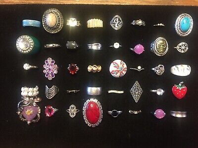 Lot of 40 Vintage Costume Fashion Rhinestone Cocktail Ring Used