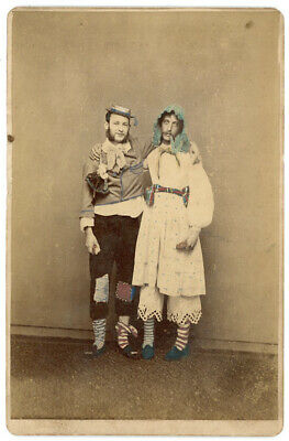 2 Men Dressed As Affectionate Man & Woman With Striped Socks Cabinet Card Photo