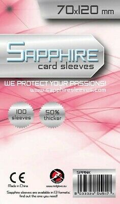 100 BUSTINE PROTETTIVE Sapphire PINK card sleeves 70 x 120 mm RED GLOVE 50% più