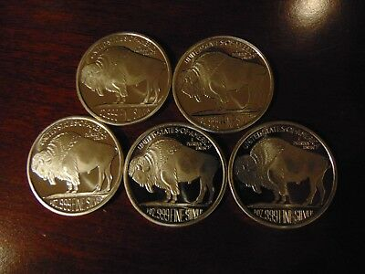5 - 1 Troy oz.Silver 2015  Buffalo Rounds   .999 Fine