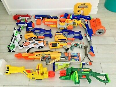 Nerf Huge Lot Office Birthday Party 20 Guns + accessories NO SINGLE SHOT JUNK