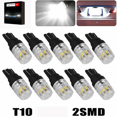10x White T10 2SMD LED High Power Dome Map License Light Bulbs W5W 168 194 5730