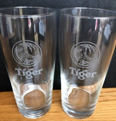 2 X TIGER ½ PINT 330ml CHINESE BEER LAGER GLASSES - £3 99