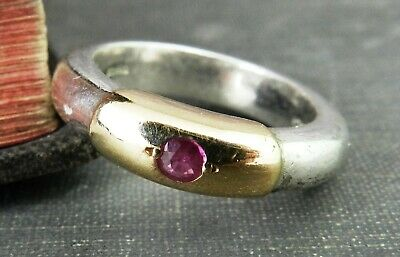 Greek Sterling Silver & Gold Band Ring w/ Pink Sapphire - Size 6.75