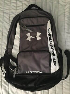 2fed2d1177 Grey White Under Armour Storm Backpack Zippered Pockets