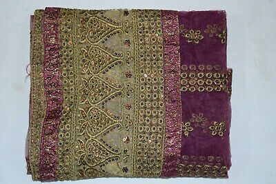 Rare Floral Dgn Indian Wedding Dupatta Scarf Sequins Embroidery Net Fabric Veil