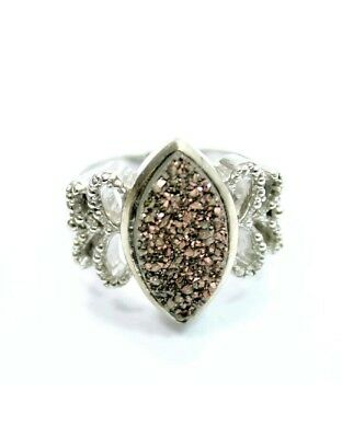 Sterling silver  druzy Marquise statement ring size 6