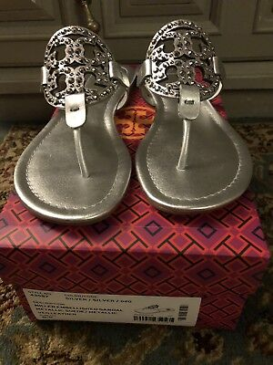 7fb50406d NIB Tory Burch Miller Embellished Crystal Stud Leather Sandal Silver 8.5   228