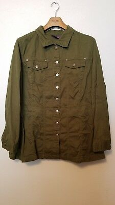 ROAMAN'S Women's Plus Size 22W (3X) Army Green Button Down Shirt Top 100% COTTON