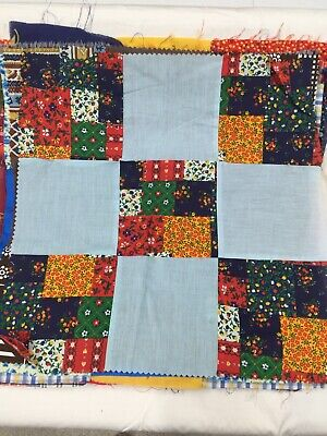 """VINTAGE 16""""X16"""" Fabric Quilt Blocks Lot of 17, Hand stitched!"""