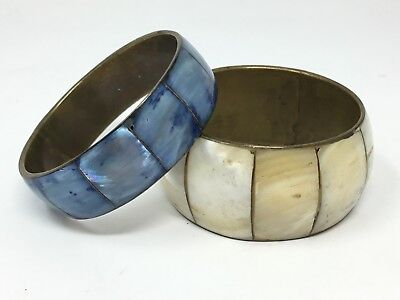 VTG Mother of Pearl Inlaid on Brass Oriental Bracelets White and Blue set of 2